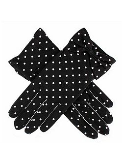 Ladies spot glove with bow cuff