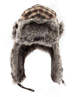 Mens bold check trapper hat