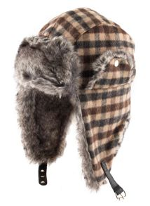 Dents Mens bold check trapper hat