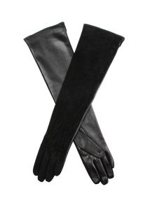 Long leather & kid suede glove