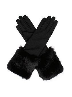 Womens long fur cuff gloves