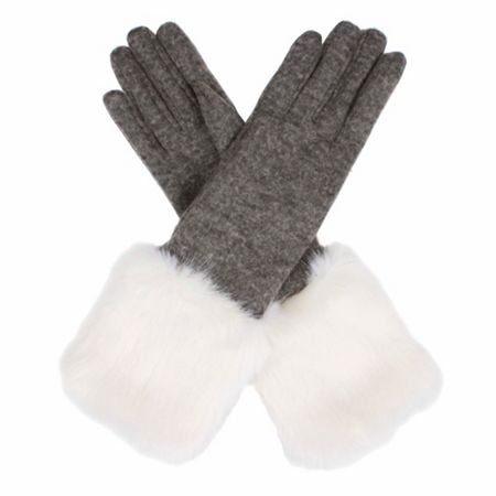 Dents Womens long fur cuff gloves