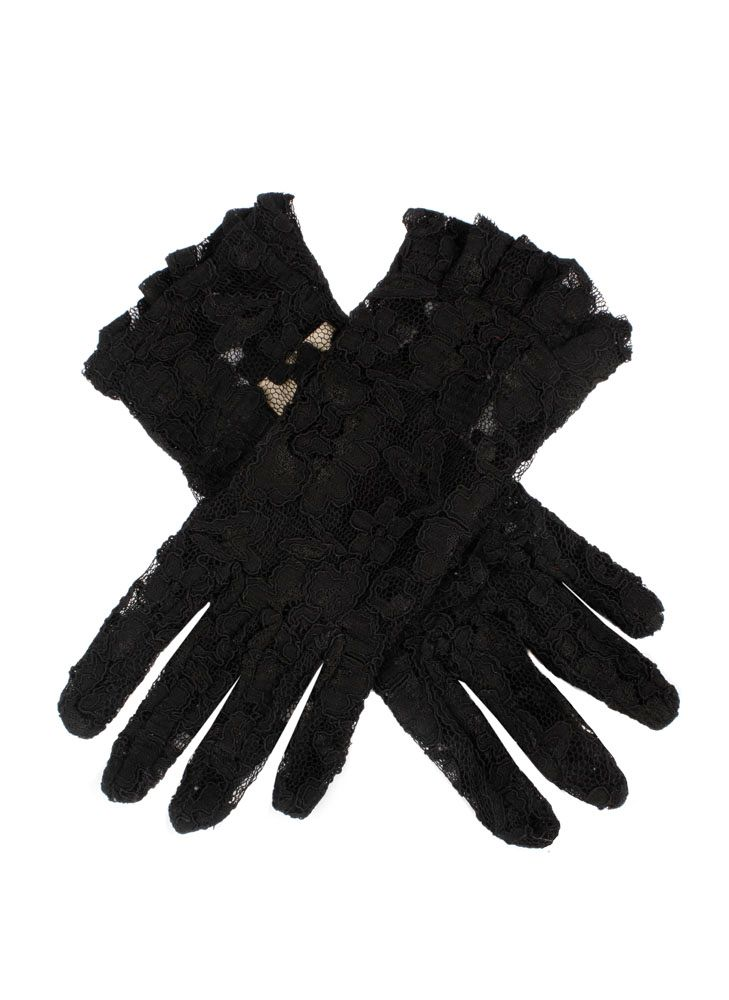 Edwardian Accessories Dents Ladies short lace glove with ruffle cuff £10.50 AT vintagedancer.com