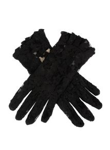 Dents Ladies short lace glove with ruffle cuff