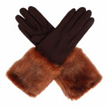 Dents Women`s long fur cuff gloves