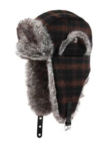 mens check trapper hat