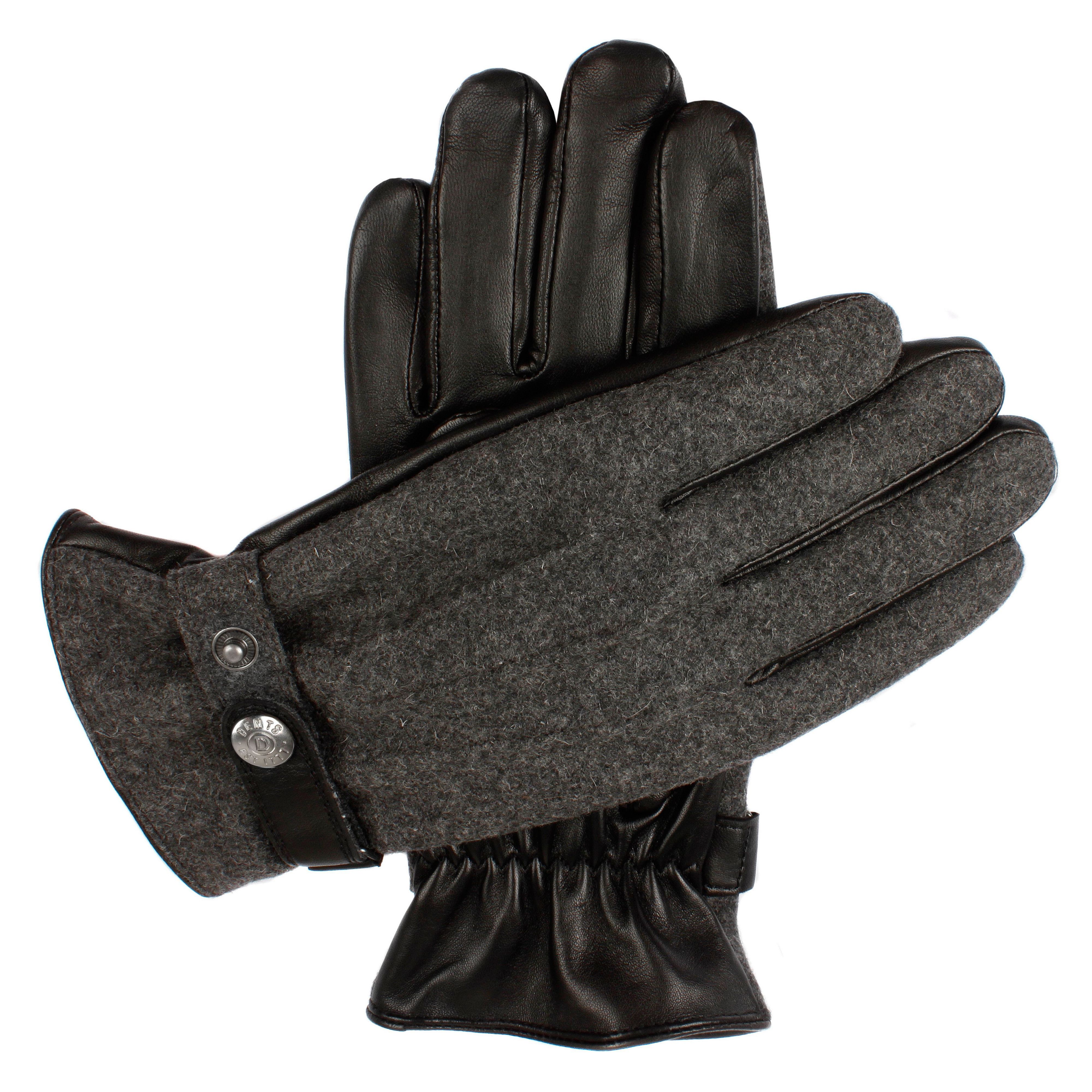 Dents Dents Mens leather gloves with flannel back, Charcoal