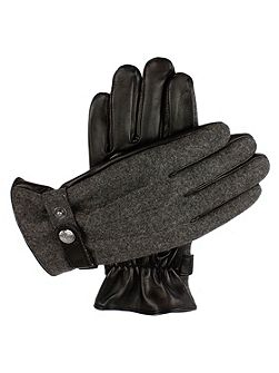 Mens leather gloves with flannel back