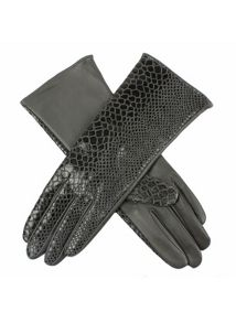 Faux snake print leather glove