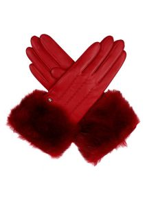 Ladies leather gloves with faux fur cuff