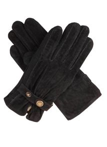 Ladies fancy suede gloves with knit sidewalls