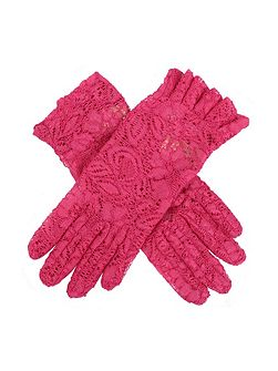 ladies lace glove with ruffle cuff