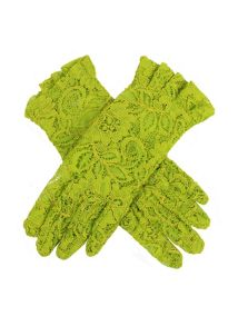 Ladies short lace glove with ruffle cuff