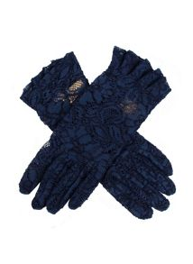 Dents ladies lace glove with ruffle cuff