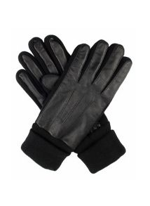 Dents Womens leather glove with knitted detail
