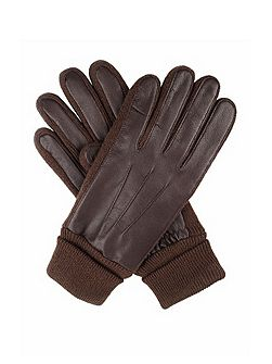 Womens leather glove with knitted detail