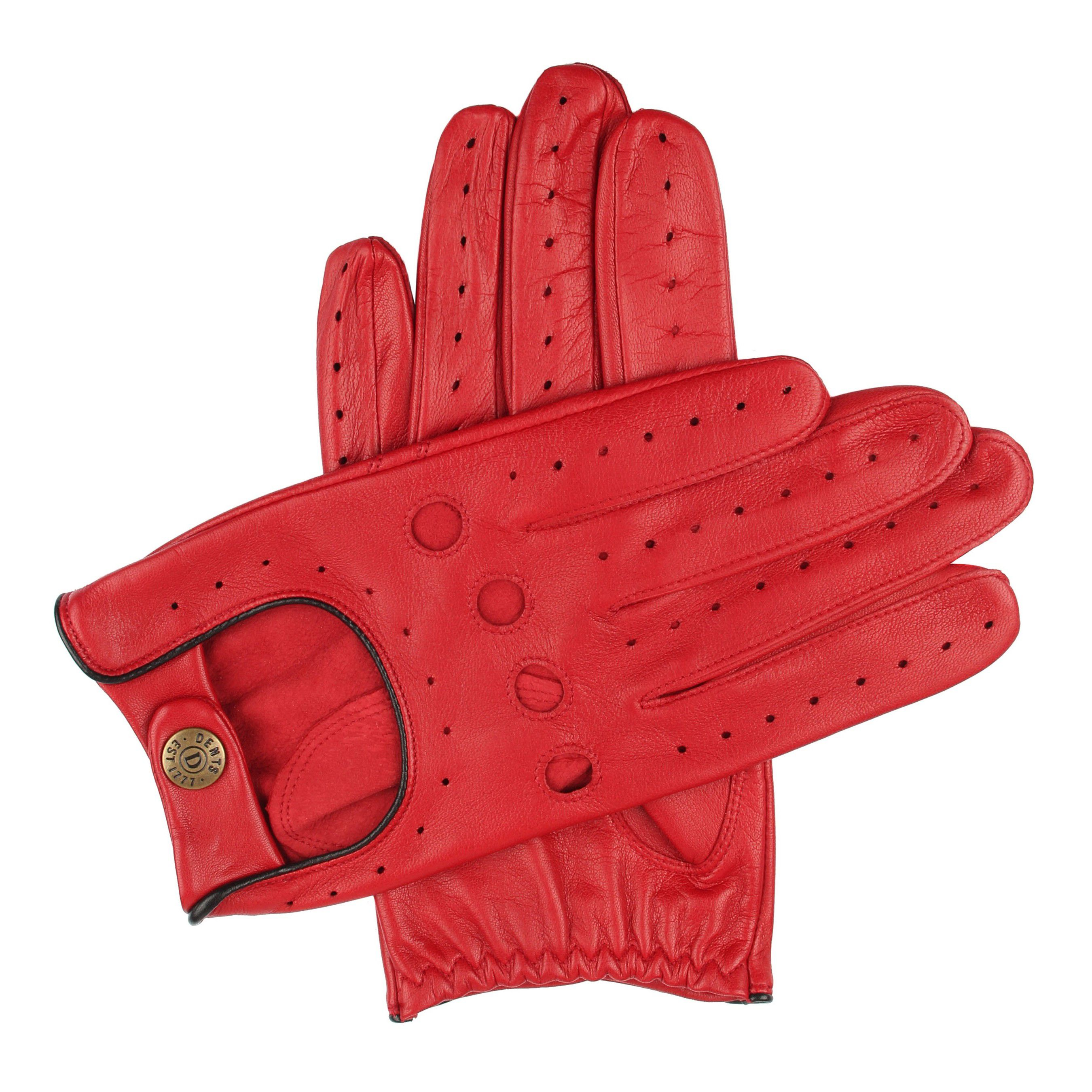 Dents Dents Mens classic leather driving gloves, Red