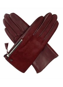 Ladies ponyskin gloves with side zip