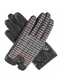 Dents Ladies tweed back leather gloves