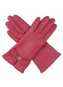 Ladies leather gloves with bow detail