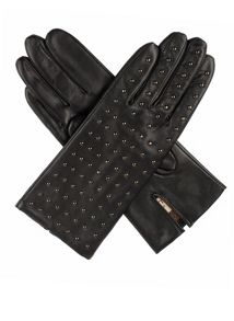 Ladies gunmetal studded back leather gloves