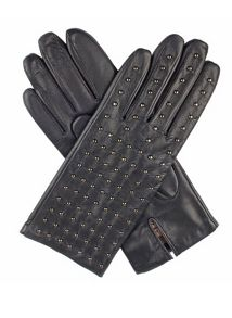 Dents Ladies gunmetal studded back leather gloves