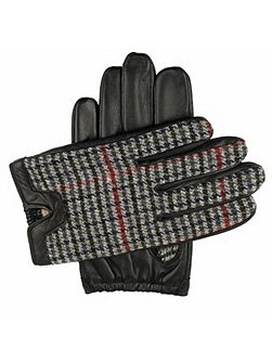 Mens leather gloves with fabric back