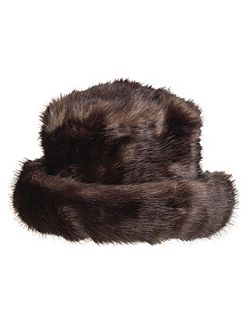 Women`s faux fur hat with brim