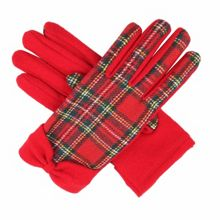 Ladies tartan glove with wollen bow cuff