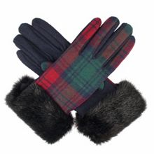 Dents Ladies tartan glove with faux fur cuff