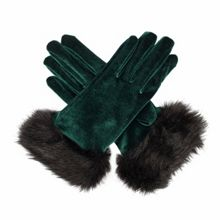 Dents Ladies velvet glove with faux fur cuff