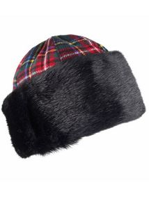 Ladies tartan panelled cossack hat
