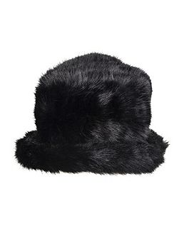 Women`s faux fur hat wth brim