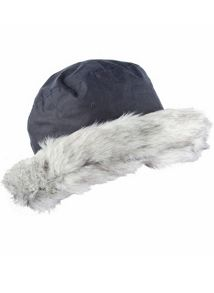 Ladies wax cotton hat with faux fur brim