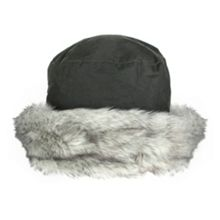 Dents Ladies wax cotton hat with faux fur brim