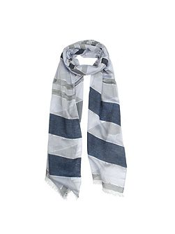 Ladies striped denim style woven scarf