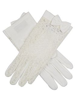 Dents ladies lace back glove with cotton palm