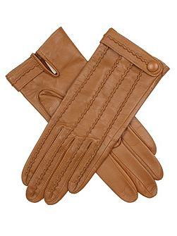 Leather glove with stitch back detail