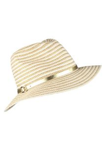 Dents Metallic two tone striped paperstraw hat