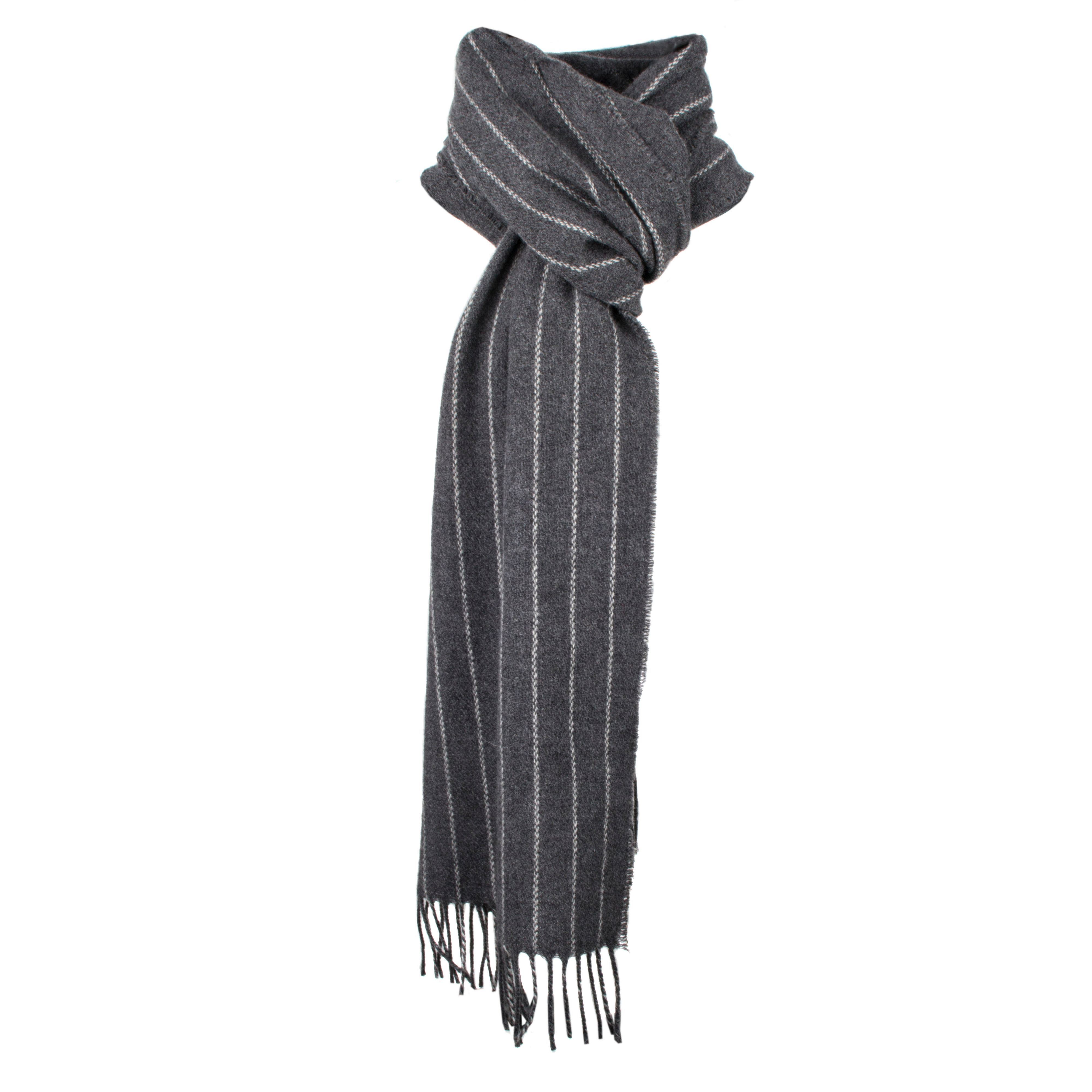 Dents Dents Mens stripe design italian woven scarf, Charcoal