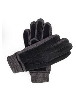Mens casual suede gloves with knit cuff
