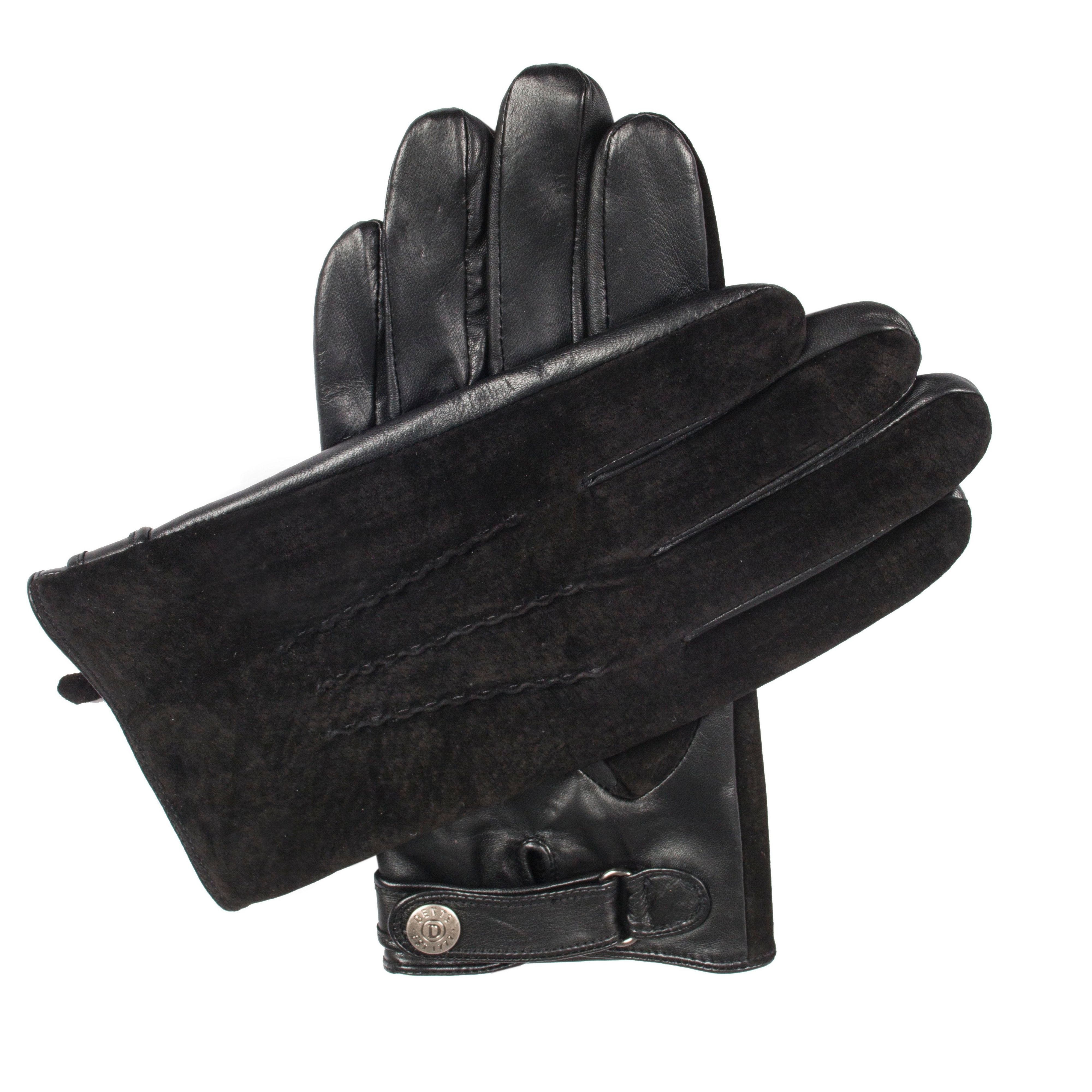 Dents Dents Mens leather gloves with suede back, Black