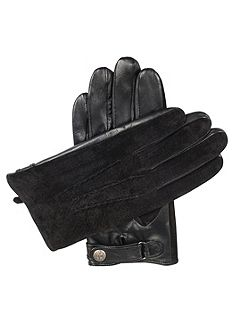 Mens leather gloves with suede back