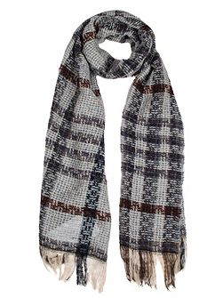Women`s checked open weave scarf