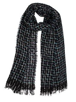 Women`s windowpane open weave scarf