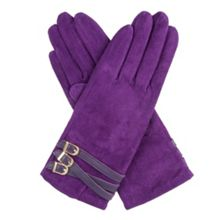 Dents women`s suede gloves with strap detail