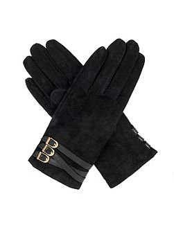 womens suede gloves with strap detail