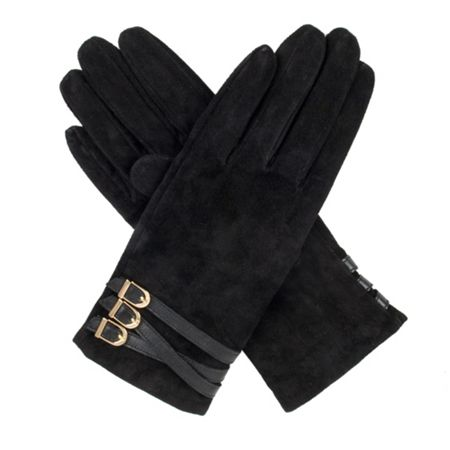 Dents womens suede gloves with strap detail