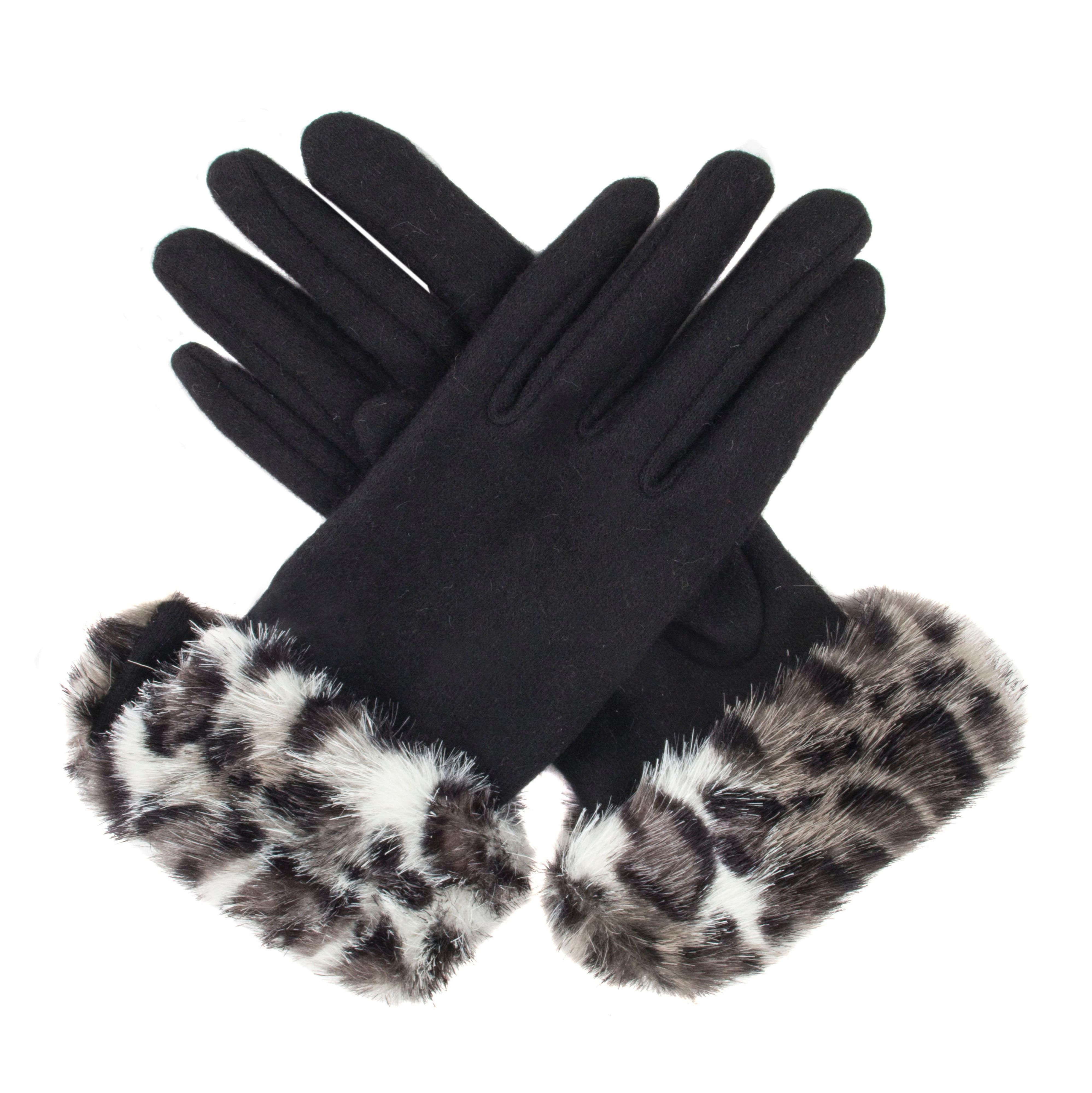 Vintage Style Gloves Dents Womens gloves with faux fur cuff Black £12.80 AT vintagedancer.com