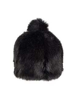 Womens faux fur hat with pom